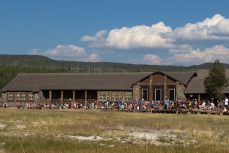 Crowd Waiting for Old Faithful