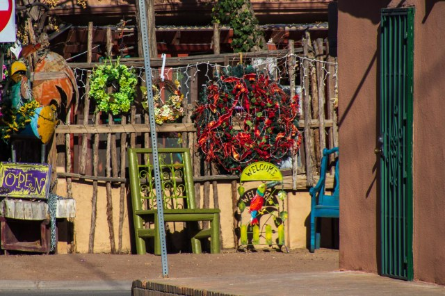Decorative objects in front of store