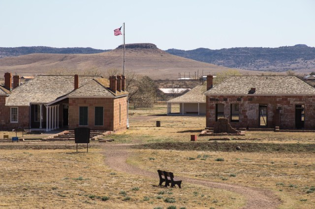 Buildings and hills at Fort Davis National Historic Site