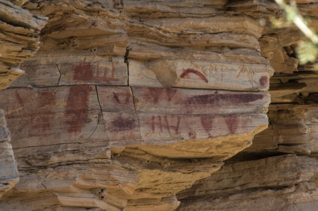 Pictographs on cliff rock