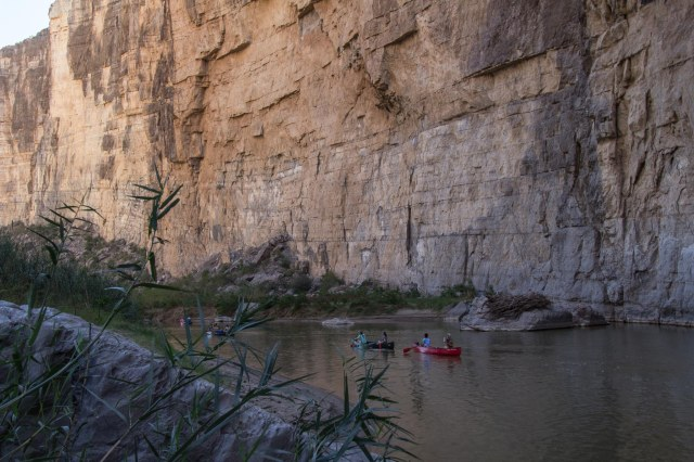 Canoes on river in Santa Elena Canyon