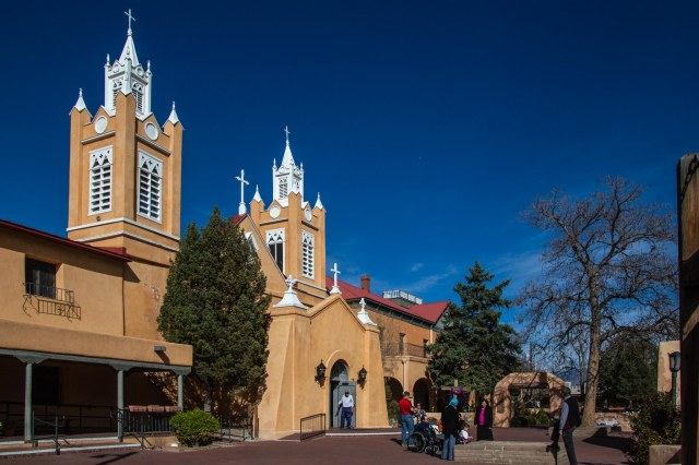 San Felipe de Neri Church, spires, and crosses