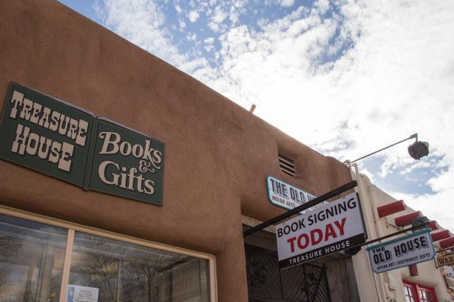 Book and gift store signs on building