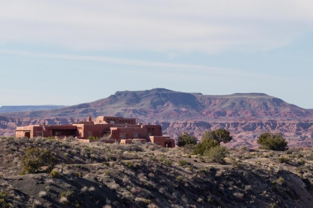 Painted Desert Inn with hills in the background