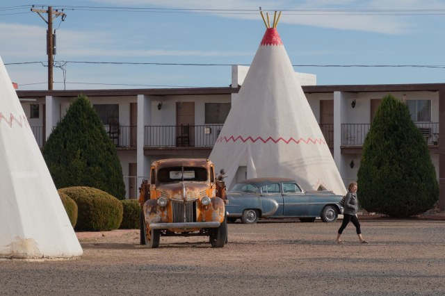 Tepees and old rusted truck