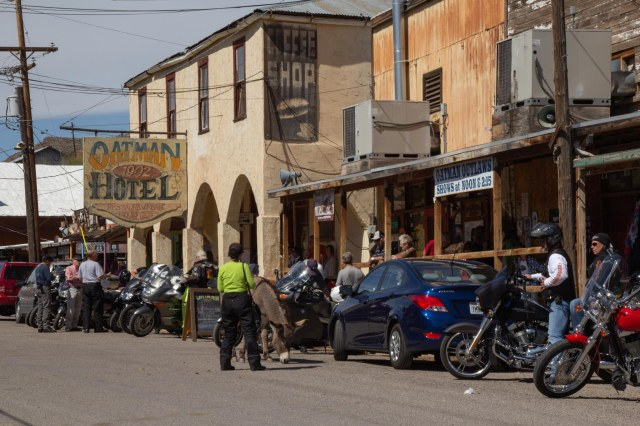 Western town street scene with motorcycles
