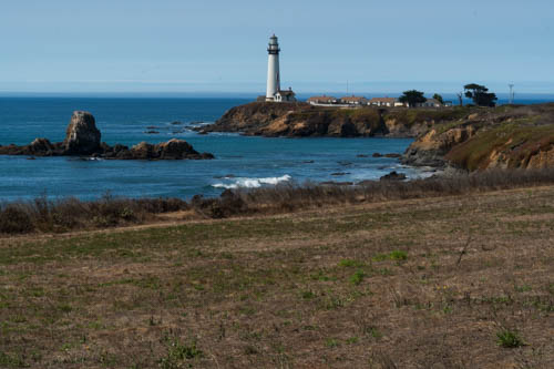 Coastline with Pigeon Point lighthouse on a bluff
