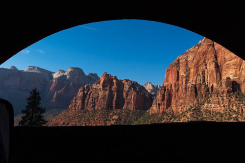 Zion cliffs from tunnel window