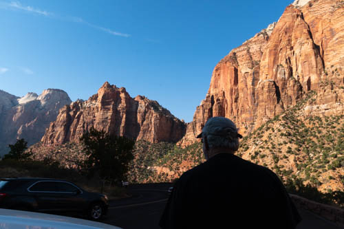 Cliffs in Zion NP and shadows of people