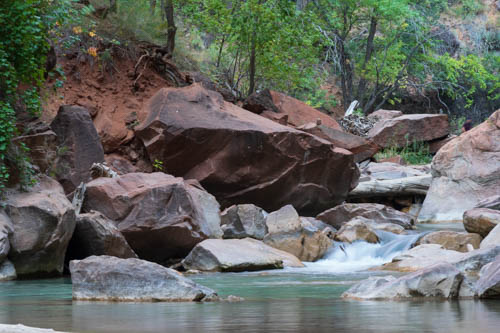 Virgin River flowing over boulders