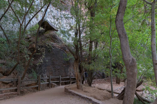 A path, trees, and balancing rock