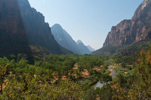 Towering canyon cliffs and mountains above the Virgin River