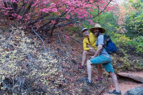 Two hikers standing next to red leafed shrub