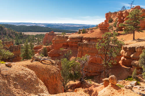 Red rock formations and landscape view in the background