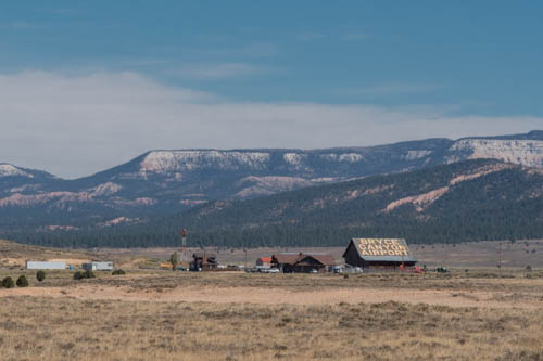 Landscape of Bryce Canyon Airport, meadow, and hills in the background