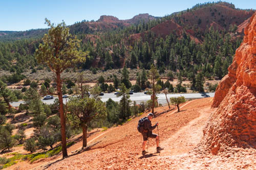 Hiker on red rocky trail