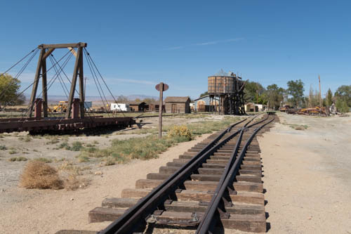 Late 1800s train tracks, train turntable, and water tank