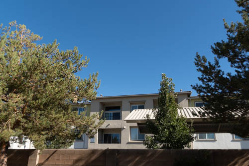 Apartment building, blue sky, trees, over behind brickwall